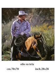 Paisaje con vaqueros a caballo. Michele Fiore