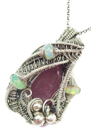 Pink Sapphire Wire-Wrapped Pendant with Ethiopian Welo Opals.