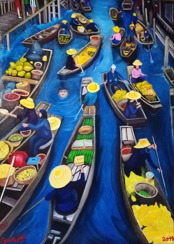 Asia Markt auf dem Wasser. Sprathoff Sprathoff