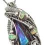 Titanium Aura Quartz Wire-Wrapped Pendant with Opals. Heather Jordan Jewelry