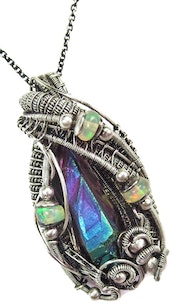 Titanium Aura Quartz Wire-Wrapped Pendant with Opals.
