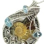 Ammonite Fossil Pendant with Blue Topaz in Sterling Silver. Heather Jordan Jewelry