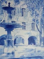 Uzès - Fontaine de la Place aux Herbes. Claude Menge