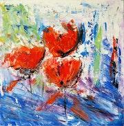 «Fleurs d'eau», peinture au couteau, oeuvre unique.