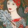 Peinture sous verre - fixé sous verre. Annie Saltel