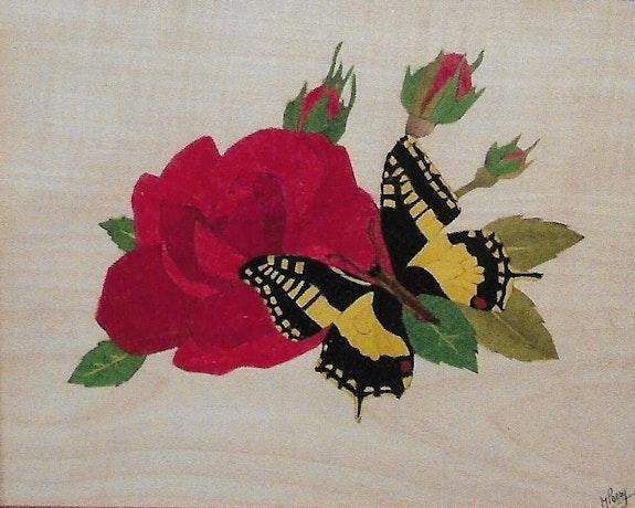 Le papillon sur la rose. Martine Perry Martine Perry