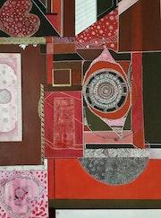 Acrylique et encaustique sur toile original « la vie en rose ». Nila