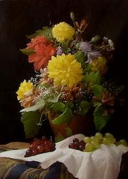 Still life of flowers and grapes. Dmitry Sevryukov