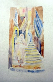 Aquarelle la casbah, costume traditionnel.