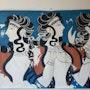 La fresque : dames en bleu palais de Cnossos entièrement doublé. Pino Didier