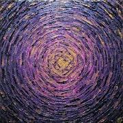Peinture au couteau : Éclaté de couleur doré violet..