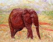 L'éléphant rouge du Tsavo (Parc du Tstavo au Kenya). Claude Evrard