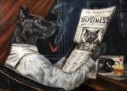 Humor, Painting, original art, airbrush, gift for him, dog, cat,. Igor Skingly