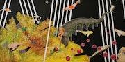 La vache volante… (Acrylique sur toile 60cm X 120cm). Dany Viaud