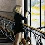 Sur les marches de l'escalier du Grand Palais. Marie-José Diebolt