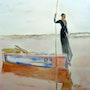 Aquarelle le lac rose Sénégal. Yokozaza