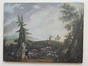 Antique painting italian landscape Italy 19th century oil on canvas. Marcello C