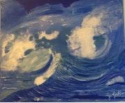 Vagues, tempête en mer.