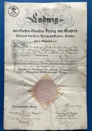 König Ludwig I von Bayern - Bestallungsurkunde, 10.09.1840, Nürnberg. Thomas Kern
