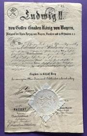 König Ludwig II von Bayern - Beförderungsurkunde, persönliche Signatur. Thomas Kern