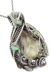 Libyan Desert Glass & Ethiopian Welo Opal Pendant in Sterling s.