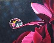 Fleur rouge à la goutte d'eau.