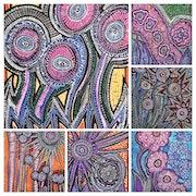 Collage flowers modern artwork woman jewish painter. Mirit Ben-Nun