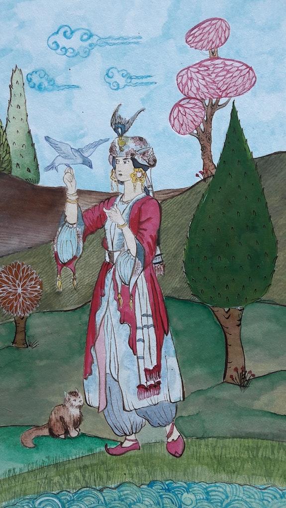 The Ottoman Girl at the Garden. Alp Karabas Studio d'arte