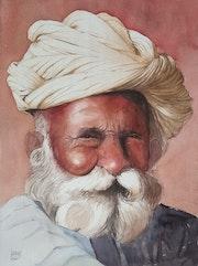 Portrait au turban blanc. Claude Menge