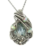 Aquamarine Wire-Wrapped Pendant with Ethiopian Opals in Sterling Silver.