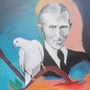 Nikola Tesla with the white dove. Sonja Bela
