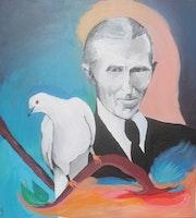 Nikola Tesla with the white dove.