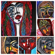 Faces collage artwork Israeli artist modern drawings. Mirit Ben-Nun