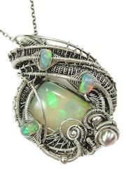 Wire-Wrapped Ethiopian Opal Pendant in Sterling Silver. Heather Jordan Jewelry