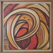 A Touch of Wood Oil on brown framed canvas.