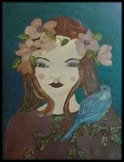 Elle et l'oiseau bleu. Anne. B