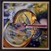 Cygnus Oil and gesso on black framed canvas.