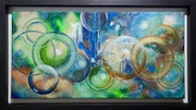 Planets and Bubbles Oil on black framed canvas.