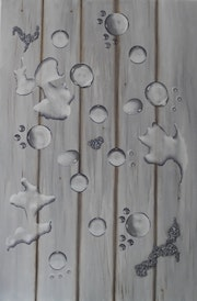 Drops on Wood Oil, gel and mineral powder on canvas.