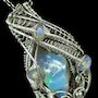 Ethiopian Desert Opal and Welo Opal Pendant Wire-Wrapped in Sterling Silver. Heather Jordan Jewelry
