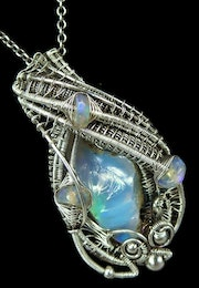 Ethiopian Desert Opal and Welo Opal Pendant Wire-Wrapped in Sterling Silver.