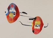 Peinture creation par LangdonArt comme Boules de Noel. Rose Mart