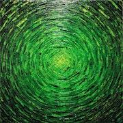 Malen mit einem Messer : Ausbruch von grüner Farbe..