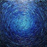 Messermalerei : Ausbruch tiefblauer Farbe..