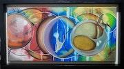 Spheres Oil on black framed canvas.