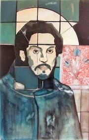 Pablo triste Huile sur bois 1985 (100x65 cm).