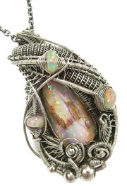 Australian Queensland Pipe Opal Wire-Wrapped Pendant with Ethiopian Opals.