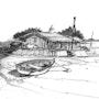 Bassin D. Arcachon. Cap ferret île aux oiseaux. Le port nord cabane de pecheurs. Hugues Bret