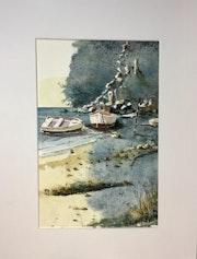 Le mouillage abrité bateaux de pêche. Hugues Bret