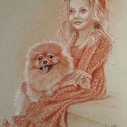 Petite fille et son chien. Alain Devred